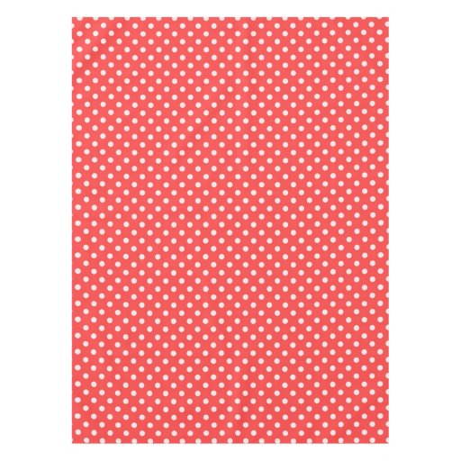 Coral red and white polka dot pattern tablecloth zazzle for Red and white polka dot pattern