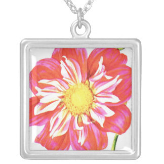 Coral red and white striped dahlia print silver plated necklace