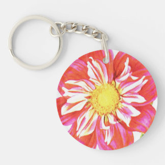 Coral red and white striped dahlia print Single-Sided round acrylic keychain