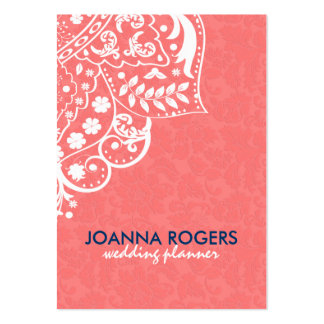Coral-Red Background And White Floral Lace Large Business Cards (Pack Of 100)
