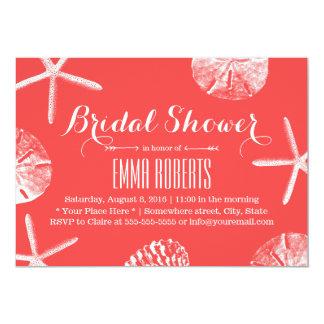 Coral Red Beach Theme Seashells Bridal Shower Card
