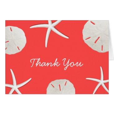 Beach Themed Coral Red Beach Theme Seashells Thank You Card