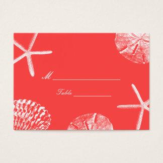 Coral Red Beach Theme Seashells Wedding Place Card