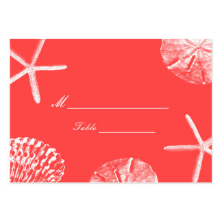 Coral Red Beach Theme Seashells Wedding Place Card Large Business Card