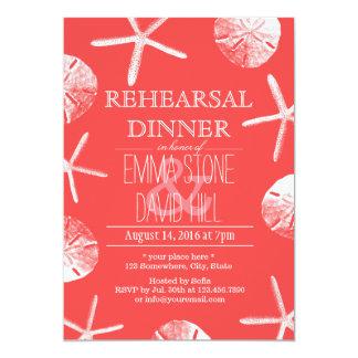 Coral Red Beach Theme Wedding Rehearsal Dinner Card