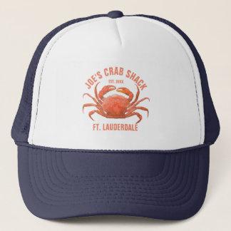 Coral Red Blue Sea Crab Illustration Trucker Hat
