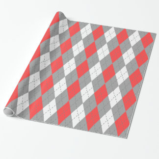 Coral Red Charcoal Dk Gray Wht XL Argyle Wrapping Paper