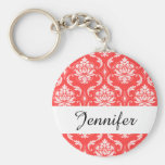 Coral Red Classic Damask Pattern Basic Round Button Keychain