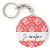 Coral Red Classic Damask Pattern Keychain