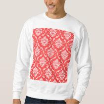 Coral Red Classic Damask Pattern Sweatshirt
