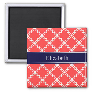 Coral Red Fancy Quatrefoil Navy Name Monogram 2 Inch Square Magnet