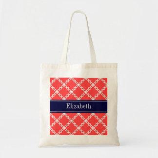 Coral Red Fancy Quatrefoil Navy Name Monogram Bag