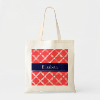 Coral Red Fancy Quatrefoil Navy Name Monogram Tote Bag