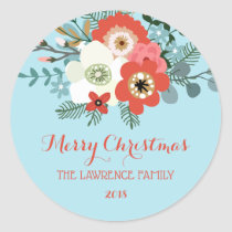 Coral Red Floral Blue Christmas Classic Round Sticker