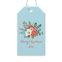 Coral Red Floral Blue Christmas Gift Tags