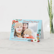 Coral Red Floral Blue Christmas Photo Holiday Card