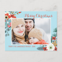 Coral Red Floral Blue Christmas Photo Holiday Postcard