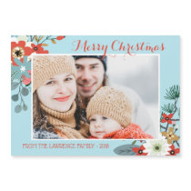 Coral Red Floral Blue Christmas Photo Magnet