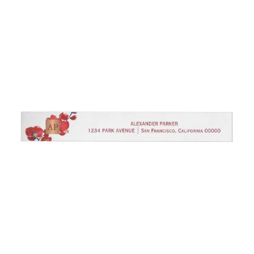Professional Business Coral red floral metallic copper monogrammed wrap around address label