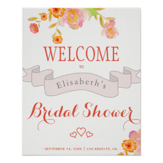 Coral red floral watercolor ribbon bridal shower poster
