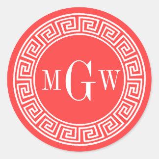 Coral Red Greek Key Monogram Envelope Seals Favor Classic Round Sticker