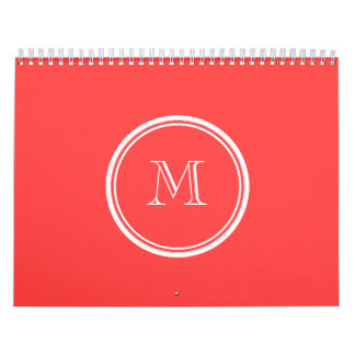 Coral Red High End Colored Wall Calendars