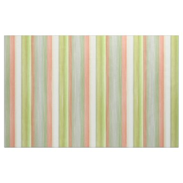 LolasFabulousFabrics Coral Red Lime Green Watercolor Stripes Pattern Fabric