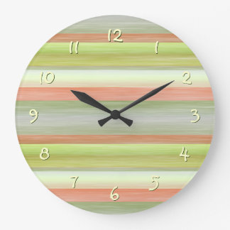 Coral Red Lime Green Watercolor Stripes Pattern Large Clock