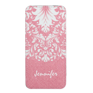 Coral Red Linen Texture White Floral Lace iPhone SE/5/5s/5c Pouch