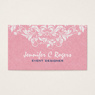 Coral Red Linen White Floral Lace Event Designer Business Card
