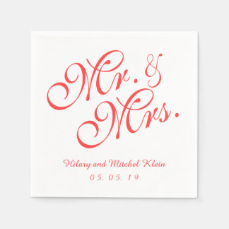 Coral Red Mr. and Mrs. Wedding Paper Napkins