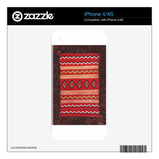 Coral Red Native American Indian Blanket iPhone 4S Decals