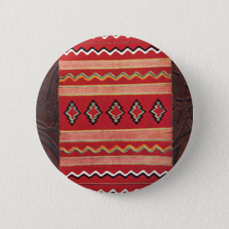 Coral Red Native American Indian Blanket Pinback Button