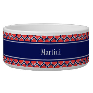 Coral Red Navy 5c Moroccan #5DS Navy Name Monogram Bowl