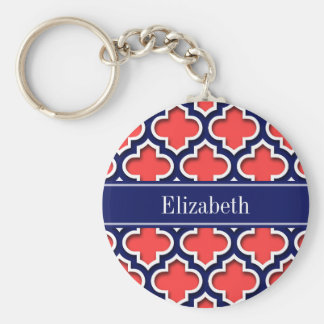 Coral Red Navy 5c Moroccan #5DS Navy Name Monogram Keychain