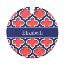 Coral Red Navy 5c Moroccan #5DS Navy Name Monogram Ornament