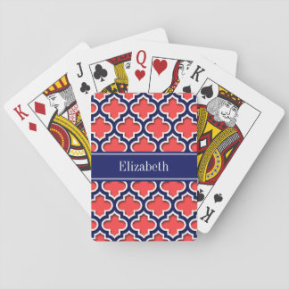 Coral Red Navy 5c Moroccan #5DS Navy Name Monogram Playing Cards