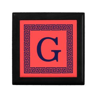 Coral Red, Navy Blue Greek Key #1 Framed Monogram Jewelry Box