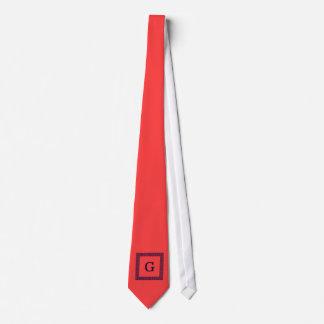 Coral Red, Navy Blue Greek Key #1 Framed Monogram Neck Tie