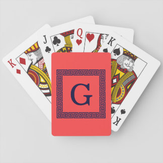 Coral Red, Navy Blue Greek Key #1 Framed Monogram Playing Cards