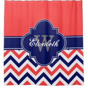 Coral Red Navy Blue LG Chevron 1ICBR Name Monogram Shower Curtain