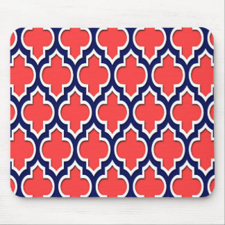 Coral Red Navy White Moroccan Quatrefoil #4DS Mouse Pad