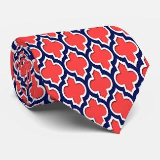 Coral Red Navy White Moroccan Quatrefoil #4DS Neck Tie