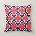 Coral Red Navy White Moroccan Quatrefoil #4DS Pillows