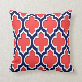 Coral Red Navy White Moroccan Quatrefoil 4DS Pillows