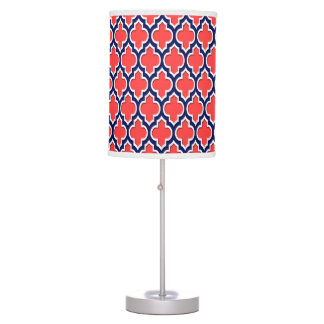 Coral Red Navy White Moroccan Quatrefoil #4DS Table Lamp