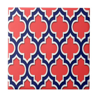 Coral Red Navy White Moroccan Quatrefoil #4DS Tile