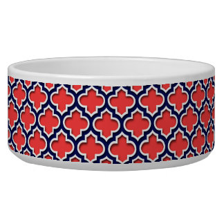 Coral Red, Navy White Moroccan Quatrefoil #5DS Bowl