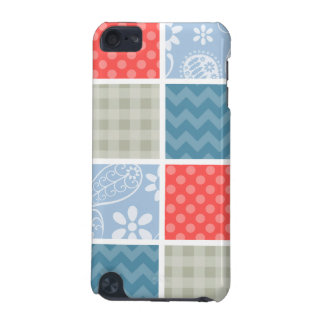 Coral Red-Orange and Light Blue Checkered Patterns iPod Touch 5G Cases