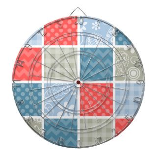 Coral Red-Orange and Light Blue Checkered Patterns Dartboard